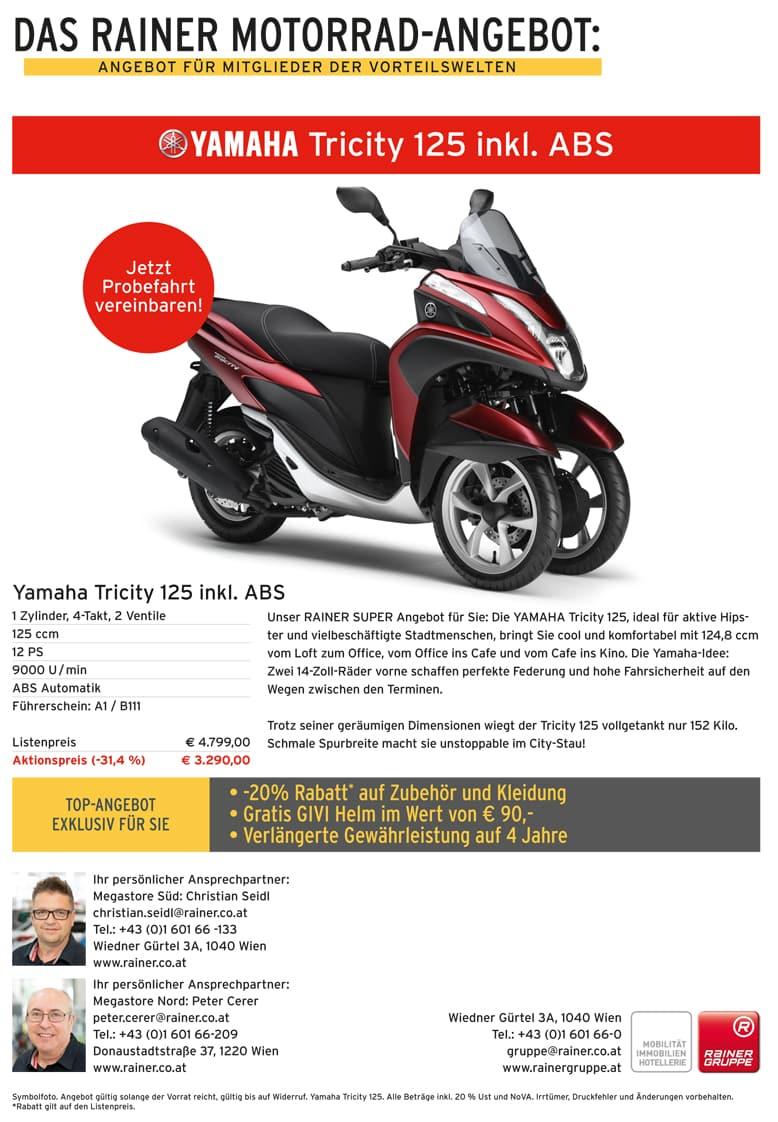 Rainer Motorrad Angebot Yamaha Tricity 125 Preisvorteil Gpf Vorteil